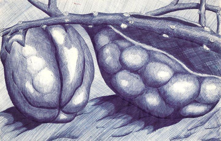 seeds in blue - gemini art of kenneth