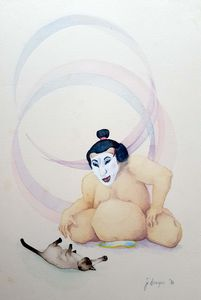 Sumo Wrestler with Siamese Cat