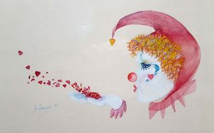 Clown Love Watercolor Original