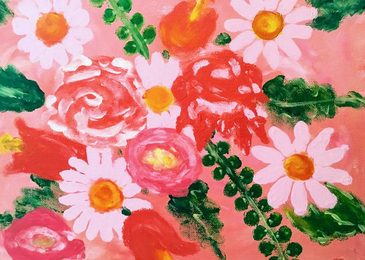 Finger Paint Daisies and More - PM Montgomery Studio