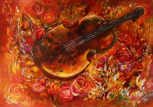 Still life with violin  painting