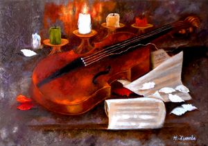 Violin still life musical with candl