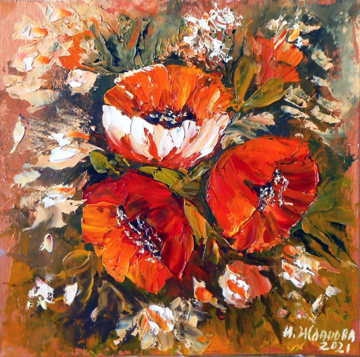 Red poppies flowers oil painting - Artnataly