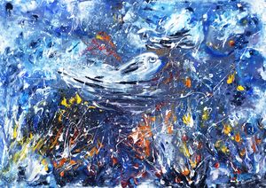 Blue whale fish underwater abstract