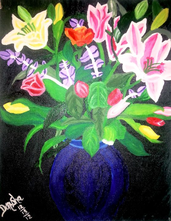 FLOWERS IN BLUE VASE - ArtbyDanusha