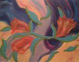 16x20 FLOWERS IN BREEZE ORIGINAL