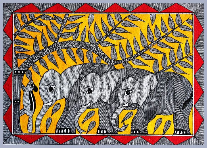 elephants - MADHUBANI PAINTINGS