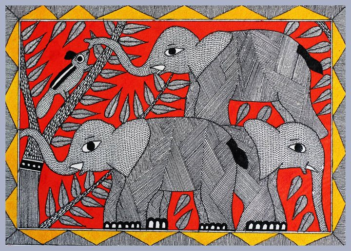 elephants - MADHUBANI PAINTINGS