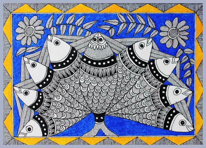 FISH FOR GOOD LUCK - MADHUBANI PAINTINGS