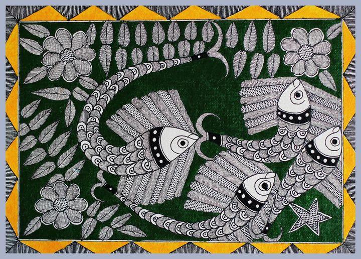 FISH FOR GOOD LUCK - MADHUBANI PAINTINGS