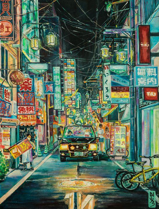 Japanese night street. - Natuz