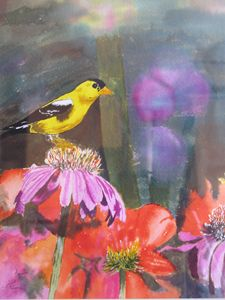 Canary and flowers