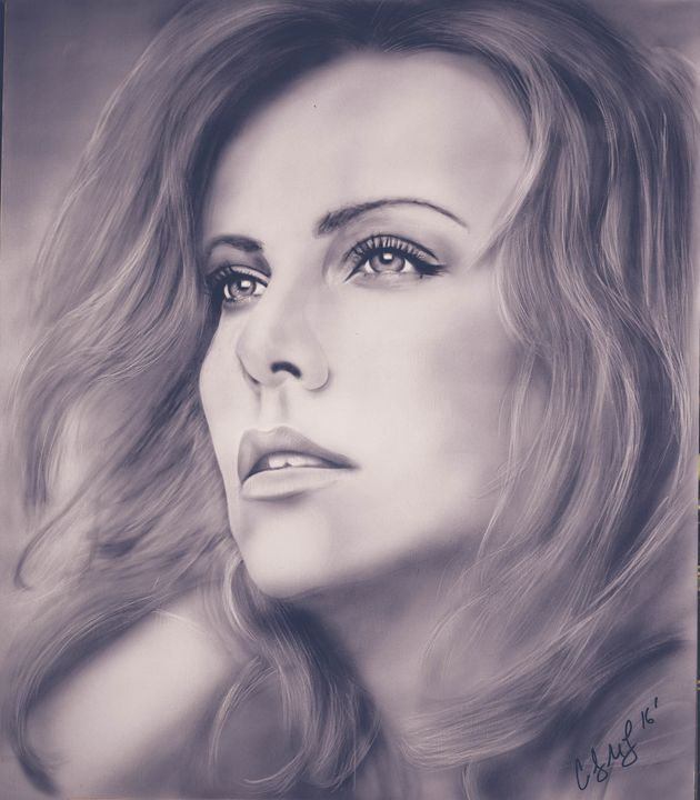 Charlize Theron original painting - Cody LeBouef
