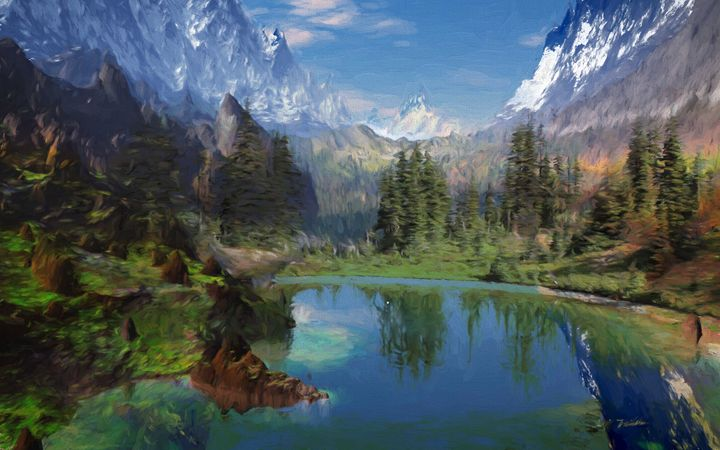 Rocky Mountain Oil Painting on Canva - hgmielke