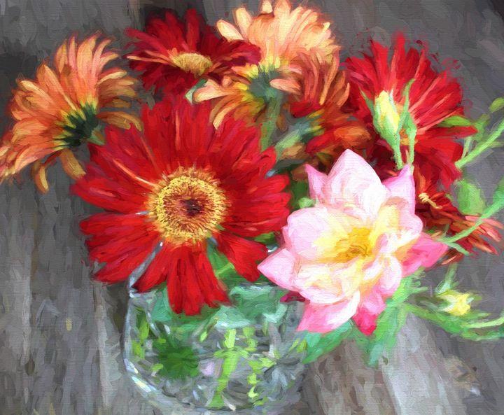 Gerbera Daisy Bouquet Painting - hgmielke