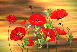 Red Poppy Flowers Painting on Wood