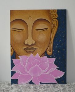 Golden Buddha with lotus painting