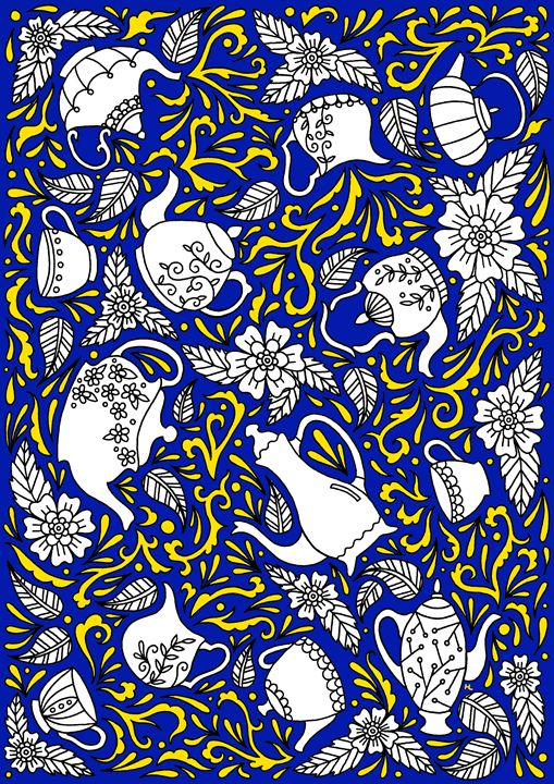 Tea Time Blue & Yellow - Henna by Hilary
