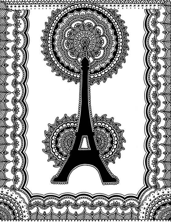 Eiffel Tower Black and White - Henna by Hilary