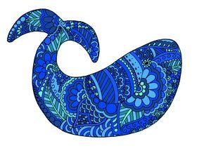 Blue Henna Whale