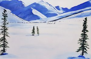 Snow clad mountains - oil painting