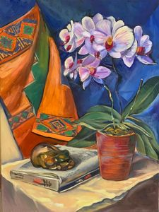 Still life with orchid in red pot