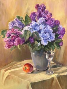 Still life, Lilac in grey vase