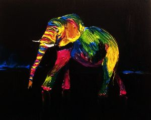 Original elephant acrylic painting.