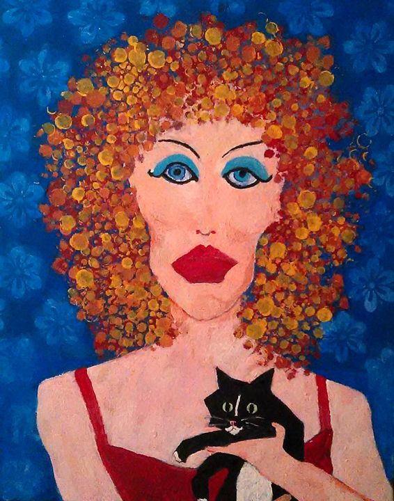 LADY IN RED WITH TUXEDO CAT - Gregory McLaughlin - Artist