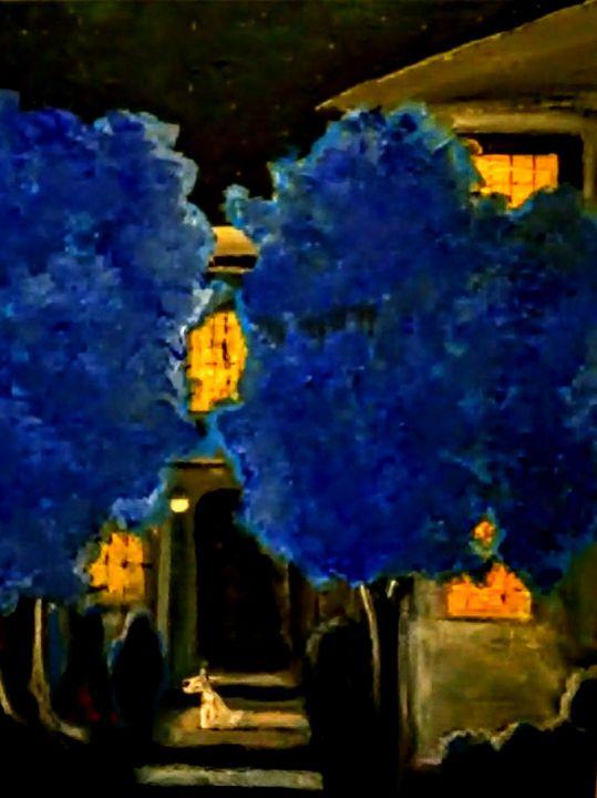 BLUE TREES WHITE DOG. - Gregory McLaughlin - Artist