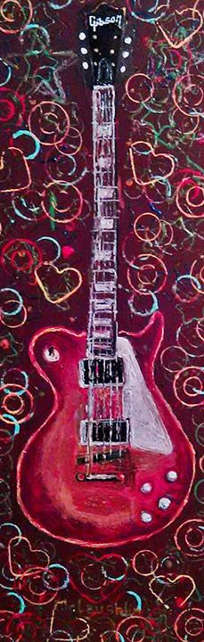 RED LES PAUL. Original SOLD - Gregory McLaughlin - Artist