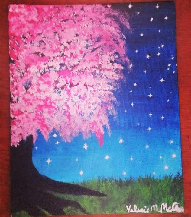 Midnight Cherry Blossom - Acrylic Art
