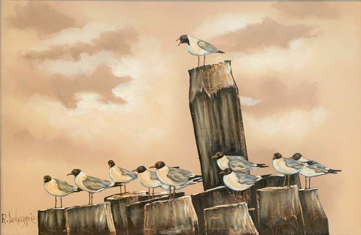 SEAGULLS ON DOCK AT NAUTICAL SEASCAP - Constance Stack