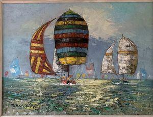 Jenkins Nautical Race Oil Painting