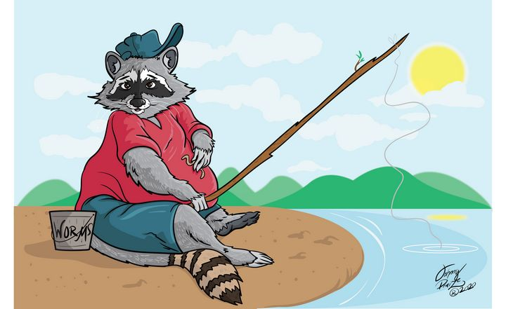 Happy fishing Raccoon - Johnny Praize