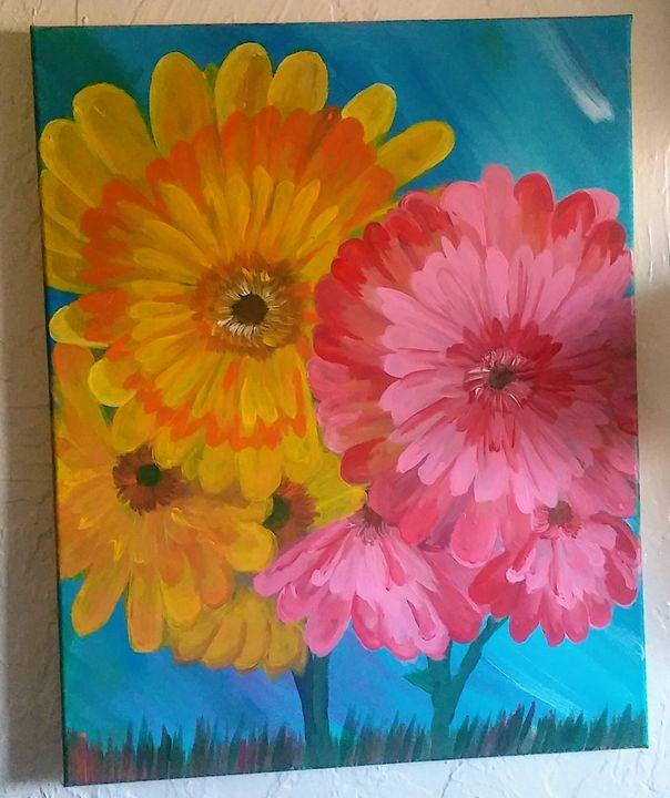 Marigolds in summer - Slash Bar A Designs