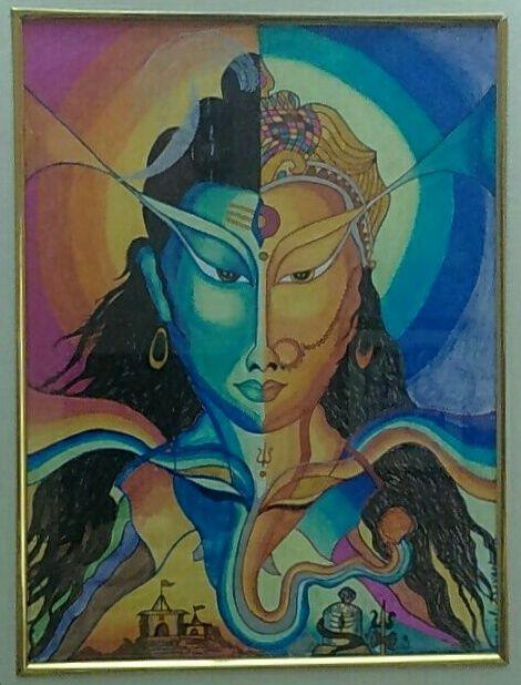 Ardha-Nareshwar abstract - Ammaji Art Gallery