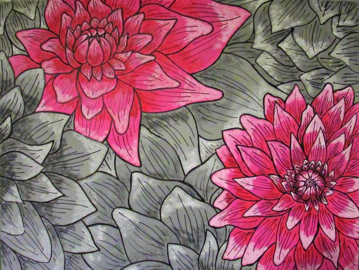 Gray and pink scale floral painting - Vivian L.