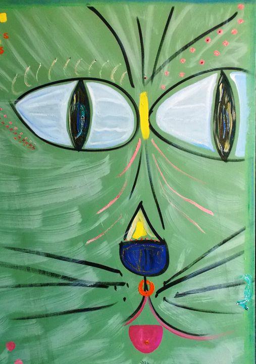 GREEN BEACH KITTY - ART BY LES