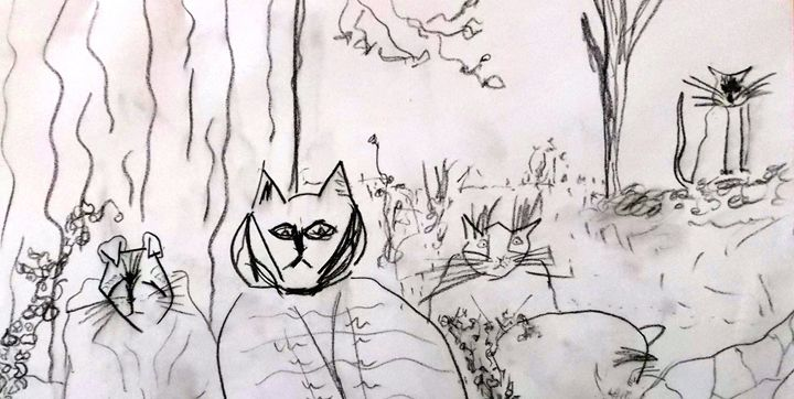 CATS IN THE YARD - ART BY LES