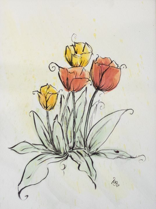 Watercolor Tulips - GParker Artworks