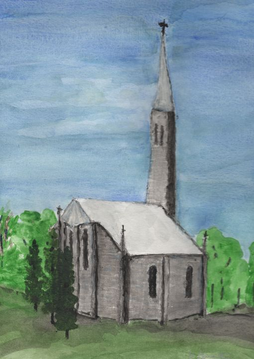 Stone Church - Watercolours by Brenda