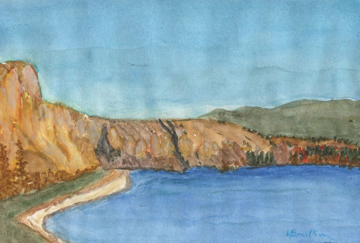 Cliffs north of Penticton - Watercolours by Brenda