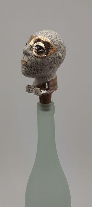 Men's head wine bottle stopper - Stela Ceramics