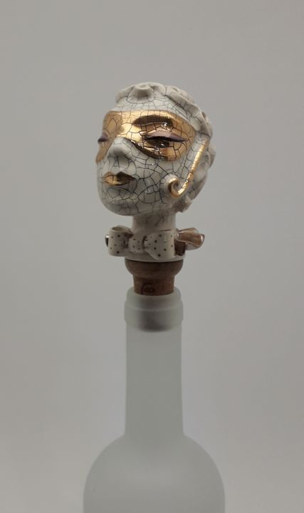 Woman head wine bottle stopper - Stela Ceramics