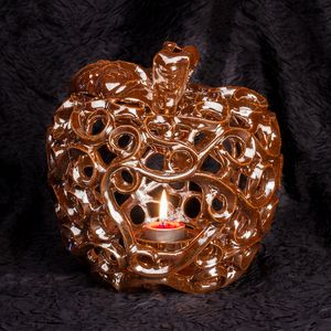 Ceramic apple candle holder