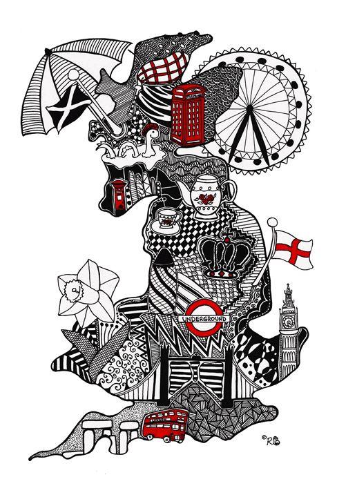 England - Doodle Art - Rebecca Bear