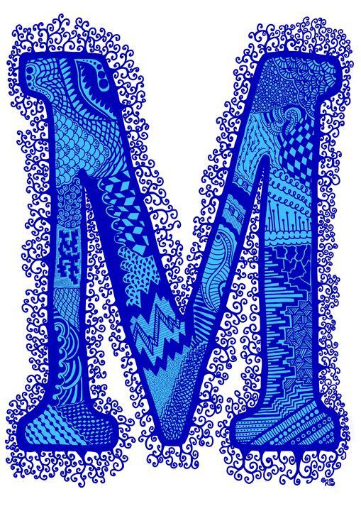 Letter M blue - Rebecca Bear