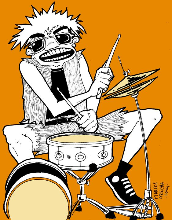 Crazy Drummer - Illustration & Art