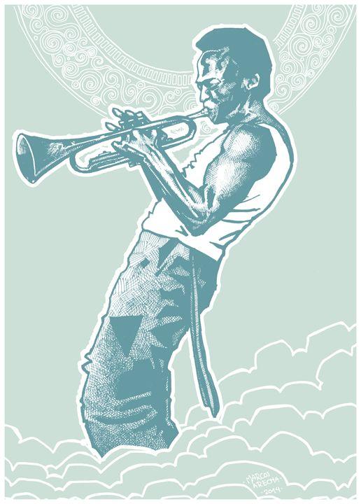 Miles Davis in the Sky - Illustration & Art